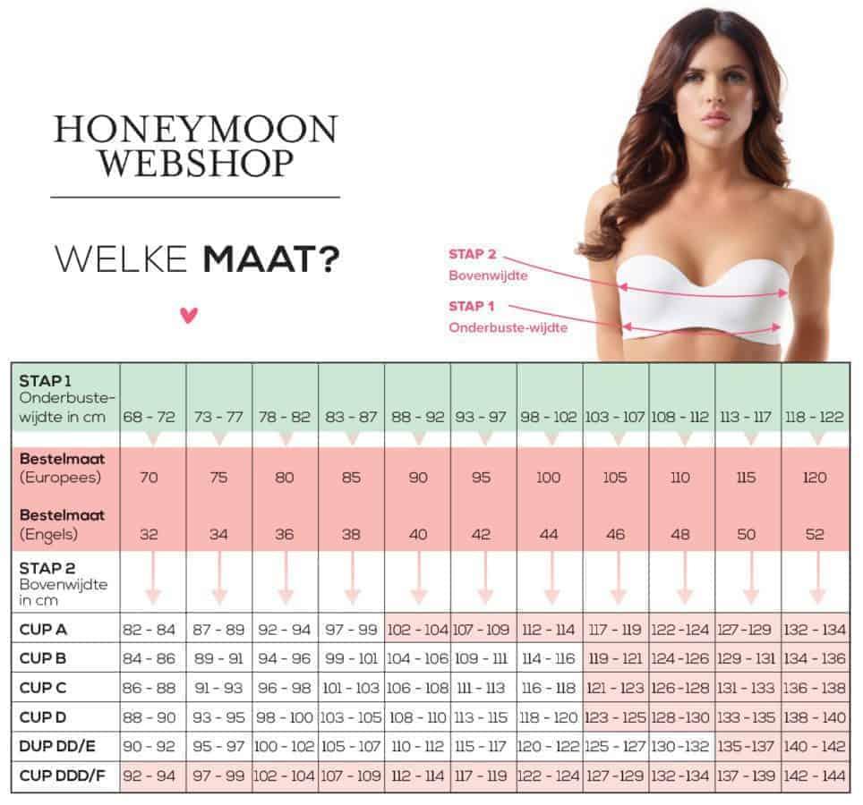 lingeriematen tabel