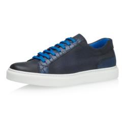 Jesper Dark Blue Grid Calf Leather 1