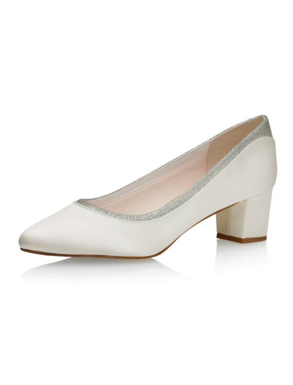 Preslie Ivory Satin-Silver Fine Glitter 1