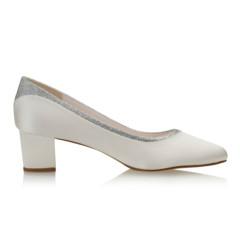 Preslie Ivory Satin-Silver Fine Glitter 2