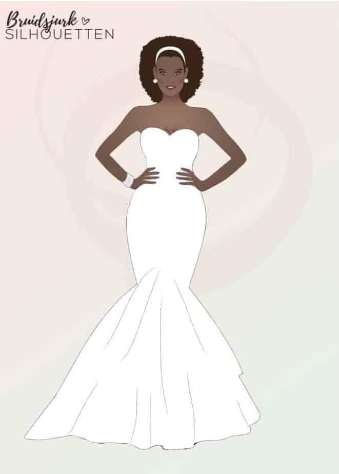 Mermaid silhouet Honeymoon shop silhouet trouwjurk