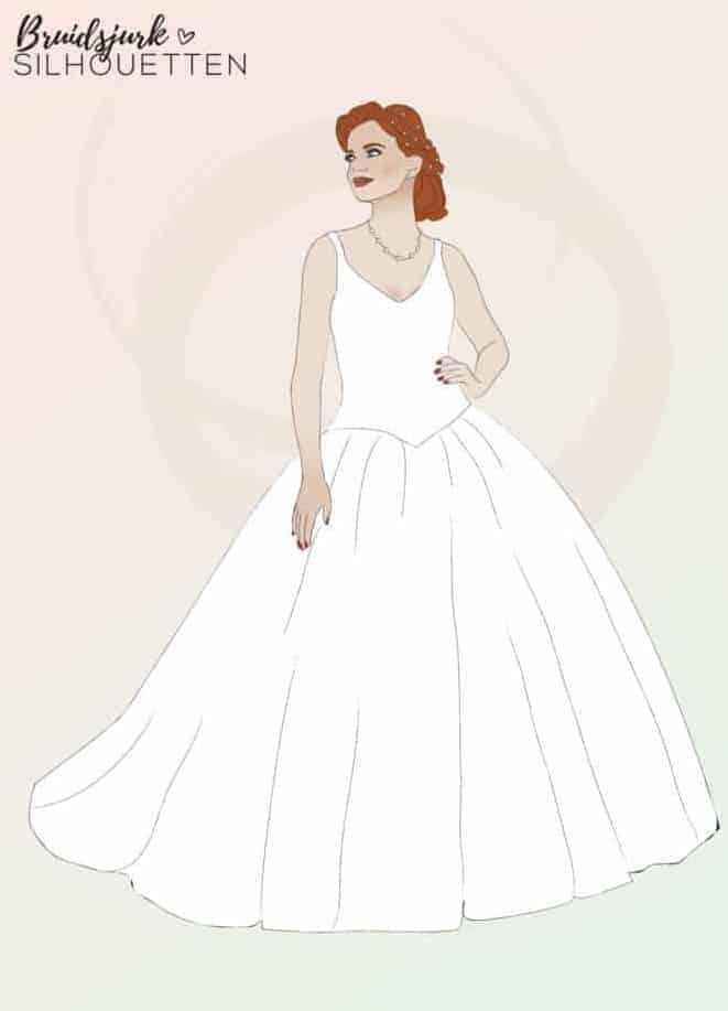 Prinsessen silhouet trouwjurk Honeymoon shop